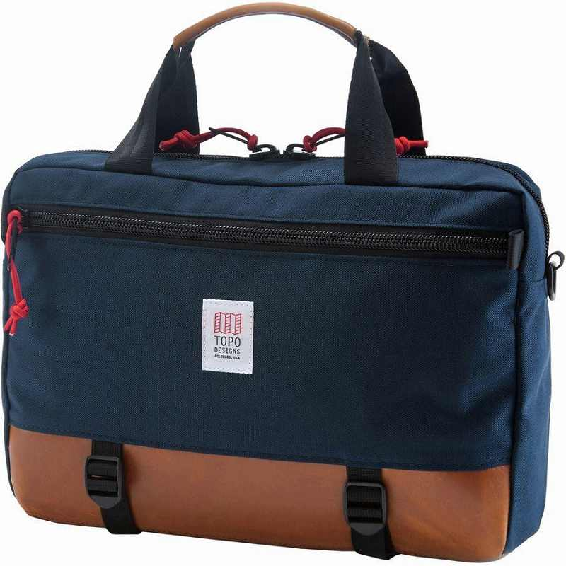 (取寄)トポデザイン ユニセックス コミューター 13L ブリーフケース Topo Designs Men's Commuter Briefcase Navy/Brown Leather