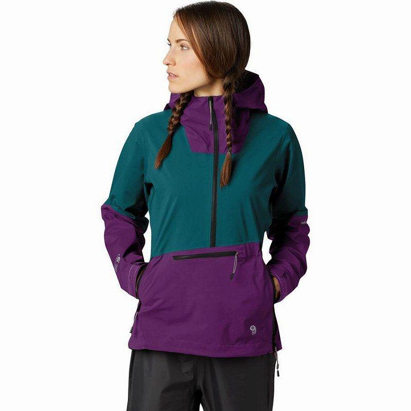【クーポンで最大2000円OFF】(取寄)マウンテンハードウェア レディース エクスポーザー 2 Gtx パックライト ストレッチ プルオーバー ジャケット Mountain Hardwear Women Exposure 2 GTX Paclite Stretch Pullover Jacket Dive/Purple/Black