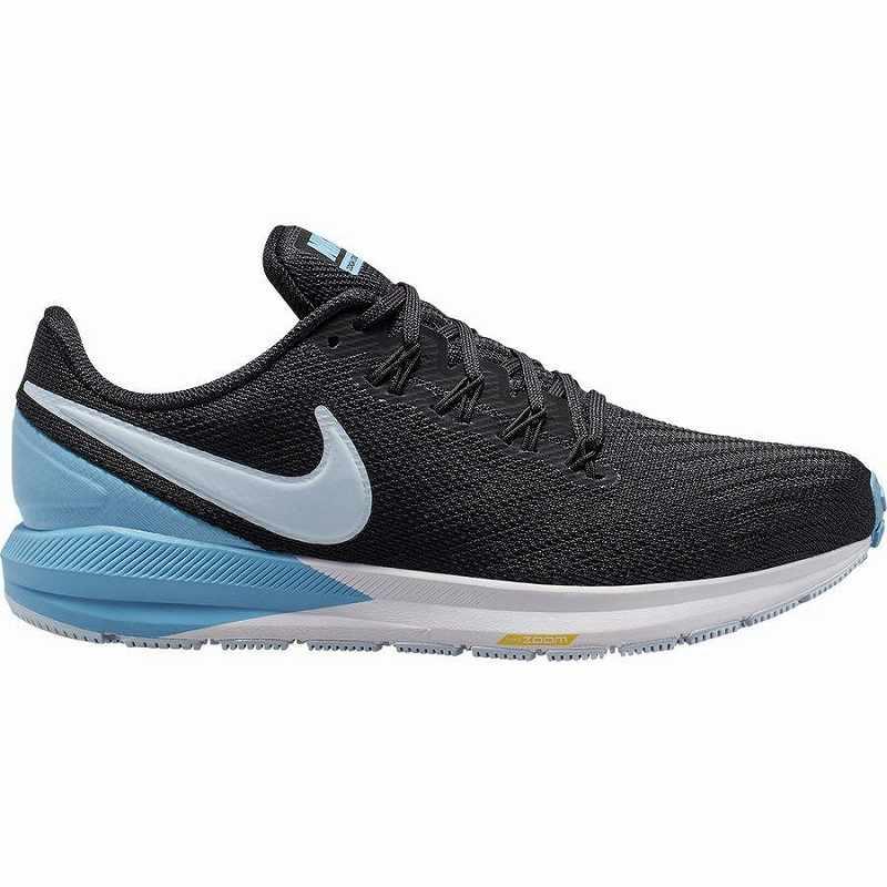 (取寄)ナイキ レディース エアー ズーム ストラクチャー 22 ランニング シューズ Nike Women Air Zoom Structure 22 Running Shoe Running Shoes Black/Half Blue-Light Blue-Chrome Yellow