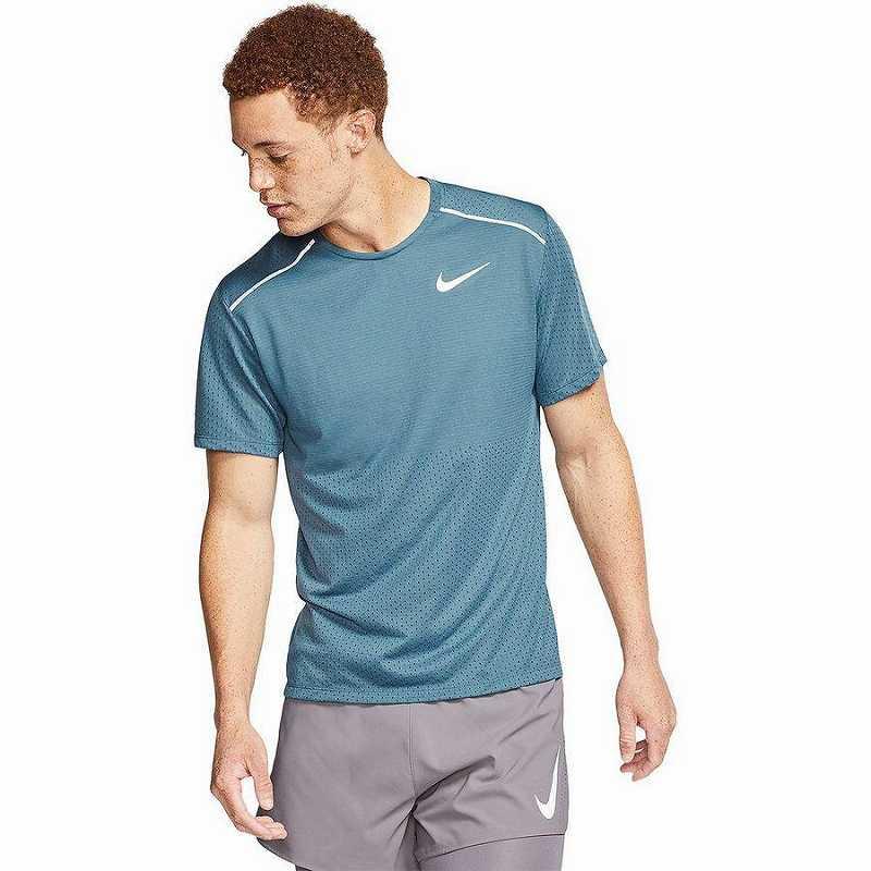 【クーポンで最大2000円OFF】(取寄)ナイキ メンズ ブリーズ ライズ 365ショートスリーブ トップ Nike Men's Breathe Rise 365 Short-Sleeve Top Thunderstorm/Reflective Silver