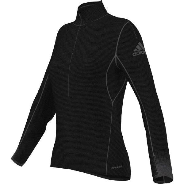 (取寄)アディダス レディース クライマヒート Half-Zip Tシャツ Adidas Women Climaheat Half-Zip T-Shirt Black