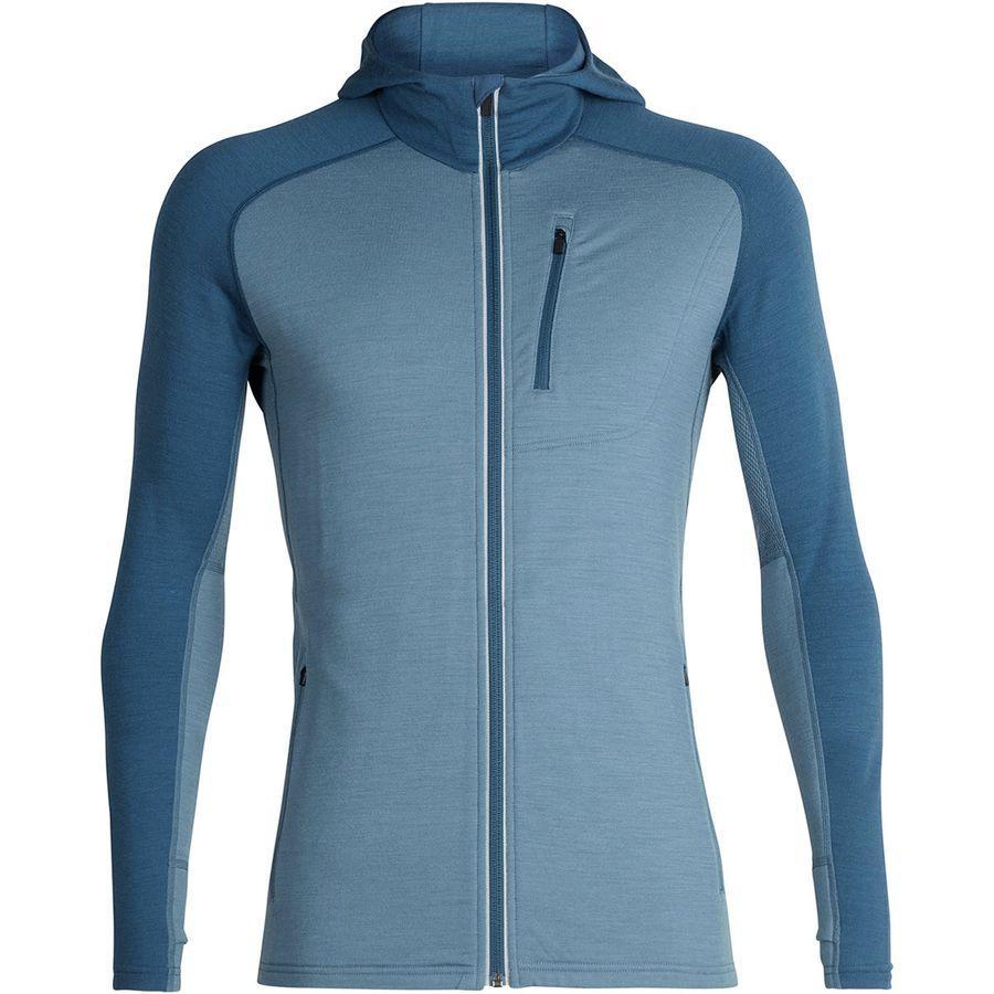 (取寄)アイスブレーカー メンズ クァンタム フーデッド フルジップ シャツ Icebreaker Men's Quantum Hooded Full-Zip Shirt Granite Blue/Prussian Blue