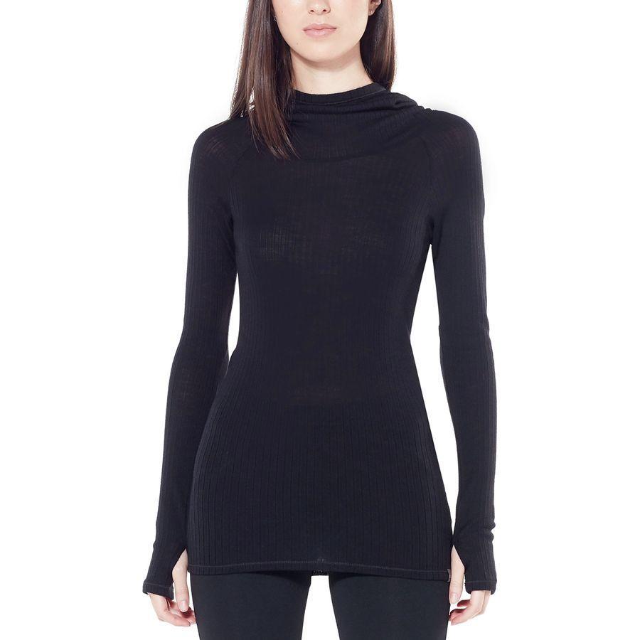 (取寄)アイスブレーカー レディース リュクス リブ フーデッド プルオーバー Icebreaker Women Luxe Rib Hooded Pullover Black