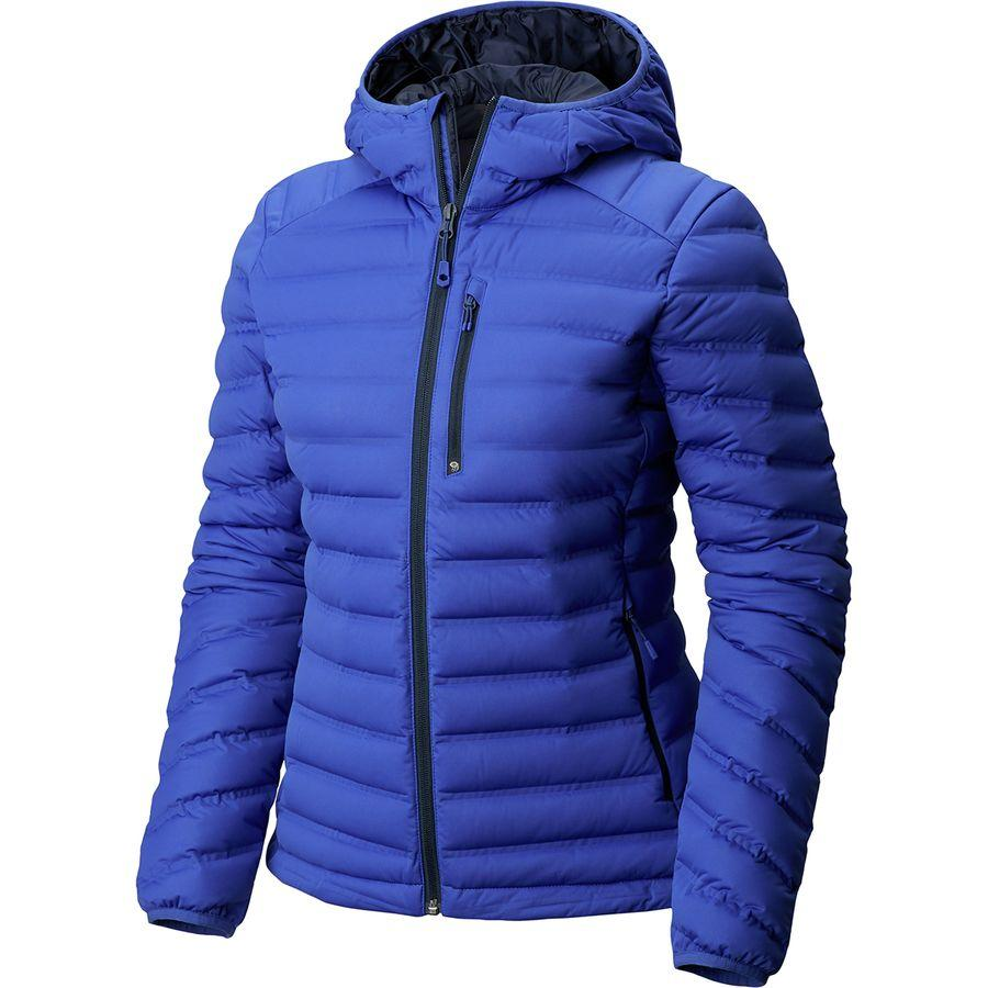 (取寄)マウンテンハードウェア レディース ストレッチダウン フーデッド ダウン ジャケット Mountain Hardwear Women Stretchdown Hooded Down Jacket Blue Print