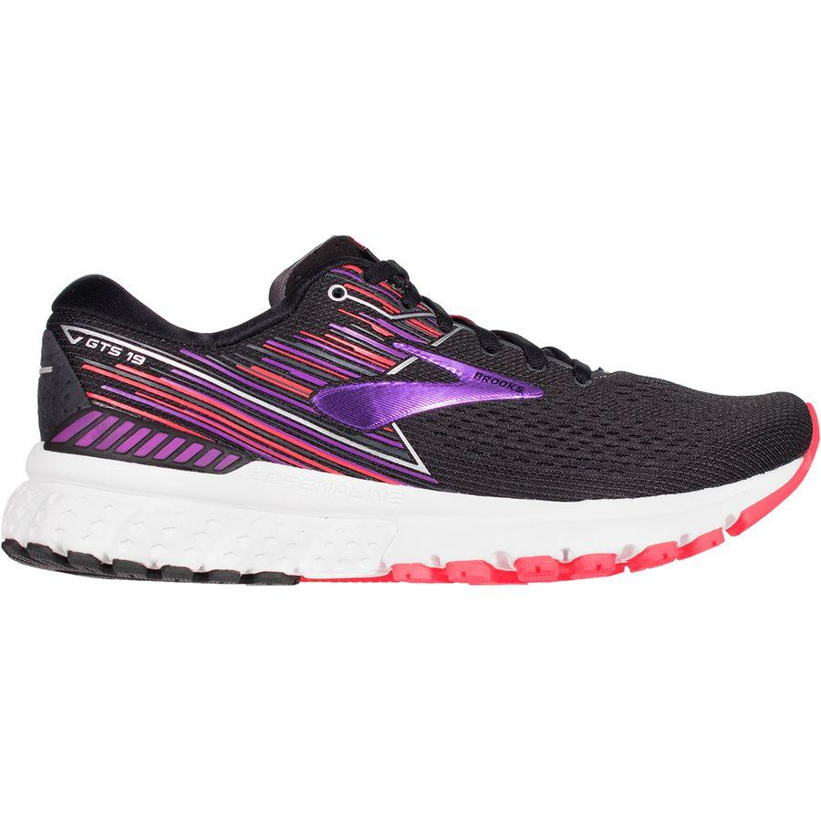 (取寄)ブルックス レディース アドレナリン GTS 19 ランニングシューズ Brooks Women Adrenaline GTS 19 Running Shoe Black/Purple/Coral