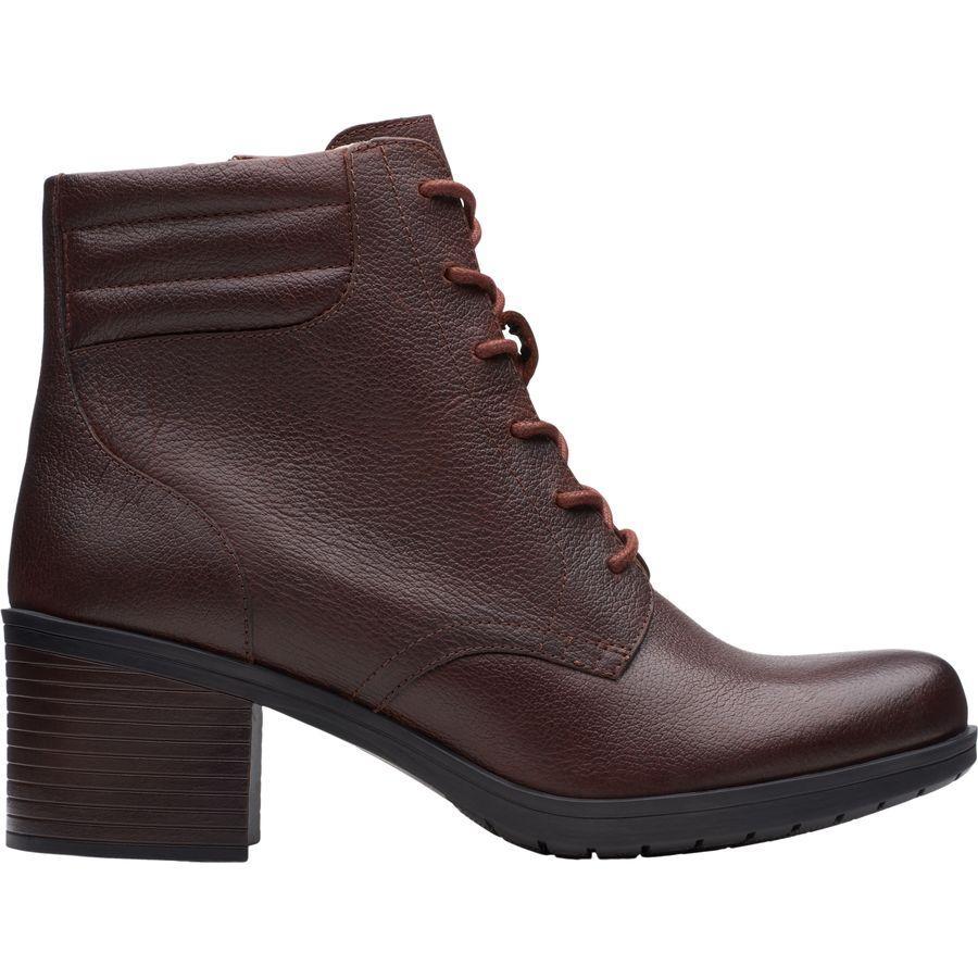 (取寄)クラークス レディース ホリス ジャスミン ブーツ Clarks Women Hollis Jasmine Boot Mahogany Leather