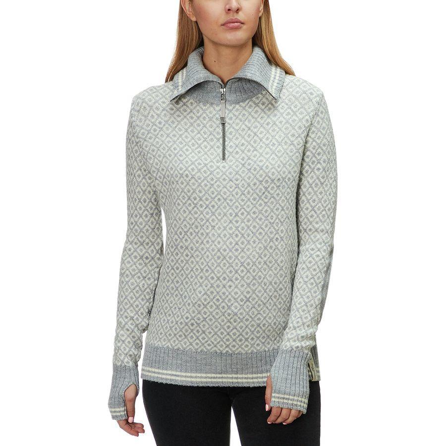 (取寄)ディボルド レディース スロゲン ジップ ネック セーター Devold Women Slogen Zip Neck Sweater Gre Melange/Off White