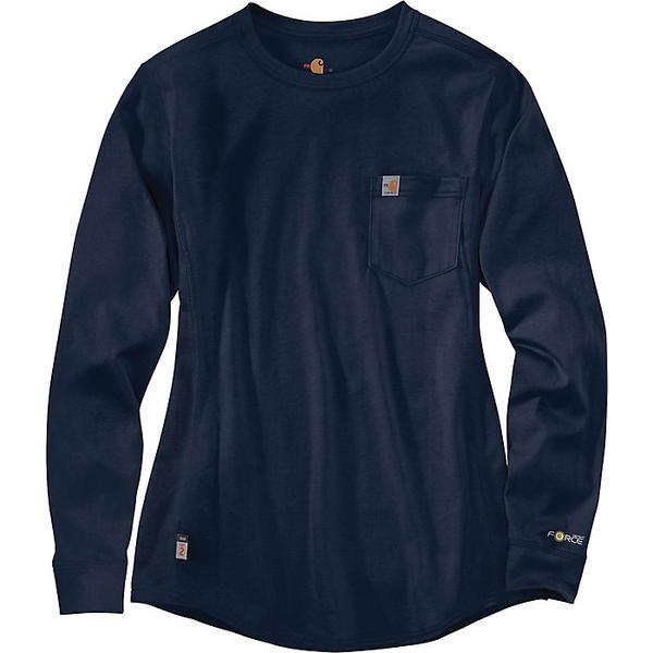 (取寄)カーハート レディース フレイム レジスタント フォース コットン ロングスリーブ クルー Tシャツ Carhartt Women's Flame Resistant Force Cotton LS Crew T-Shirt Dark Navy