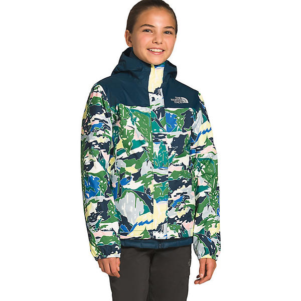 (取寄)ノースフェイス ガールズ リゾルブ リフレクティブ ジャケット The North Face Girls' Resolve Reflective Jacket Jaiden Green Valley Block Print
