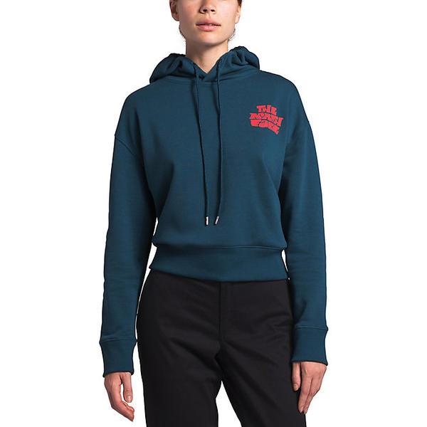 (取寄)ノースフェイス レディース クロップド ロゴ ヘイズ フーディ The North Face Women's Cropped Logo Haze Hoodie Blue Wing Teal