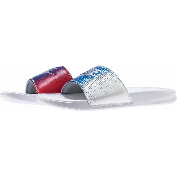 ad471c8b2 NIKE ナイキメンズサンダルベナッシ USA pattern gradation Nike Men s Benassi USA Slide White  Metallic Silver Speed Red Blue