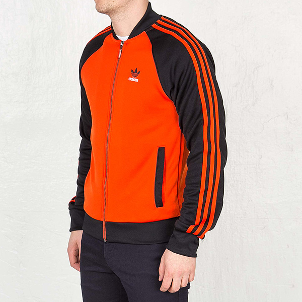 阿迪达斯原始物人大明星卡车茄克运动衫橙子adidas ORIGINALS Men's Superstar Track Jacket Collegiate Orange AJ7002
