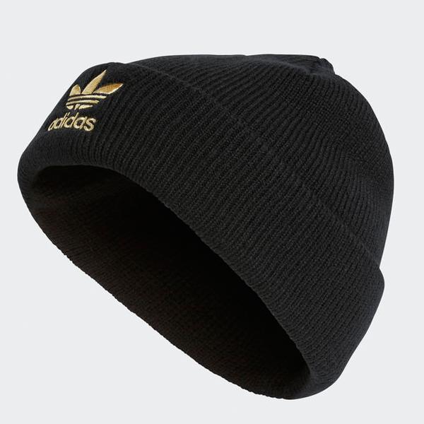 アディダスニットキャップトレフォイルビーニーニット hat black black gold adidas Originals TREFOIL  BEANIE correspondence 1bad8d44019