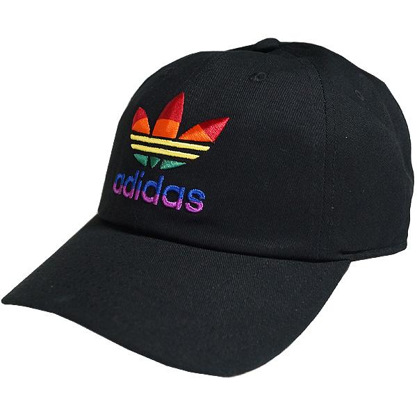 即日発送 adidas 新品未使用 ORIGINALS ロゴキャップ 帽子 ハット CAP メンズ ブラック レインボー LGBT ファッション ストリート 特価 ブランド あす楽対応 トレフォイル Pride Men's Relaxed Cap Rainbow キャップ Black リラックスド オリジナルス プライド アディダス