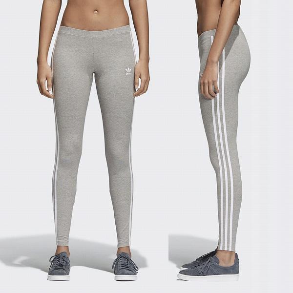 78f253caa26 Adidas originals leggings Lady's 3 stripe tights 3 main line line gray  CY4761 adidas ORIGINALS Womens ...