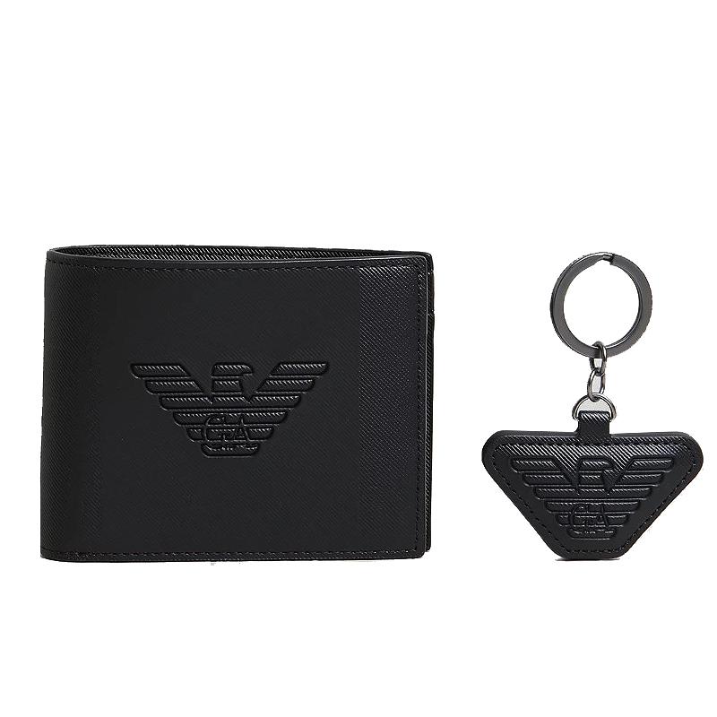 エンポリオアルマーニ 財布 キーリング セット サイフ メンズ 二つ折り財布 ブラック 小銭入れあり イーグルロゴ Emporio Armani Y4R174 YFE6J 81072