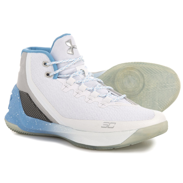 アンダーアーマー メンズ バッシュ カリー 3 ステファンカリー バスケットシューズ Under Armour Men's Curry 3 White Carolina Blue Metallic Silver