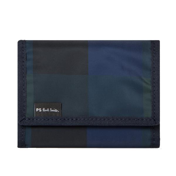 ポールスミス メンズ ネイビー チェック ナイロン トライフォールド ウォレット Paul Smith Men's Navy Check Nylon Tri-Fold Wallet