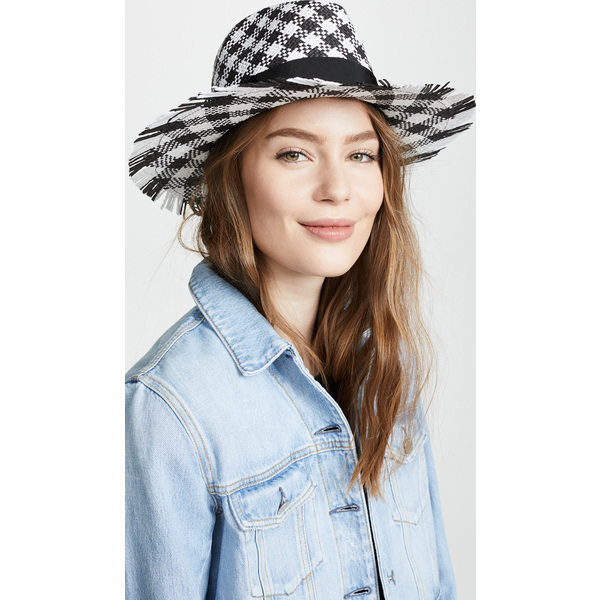(取寄)Kate Spade New York Gingham Trilby Hat ケイトスペード ギンガム トリルビー ハット BlackFreshWhite