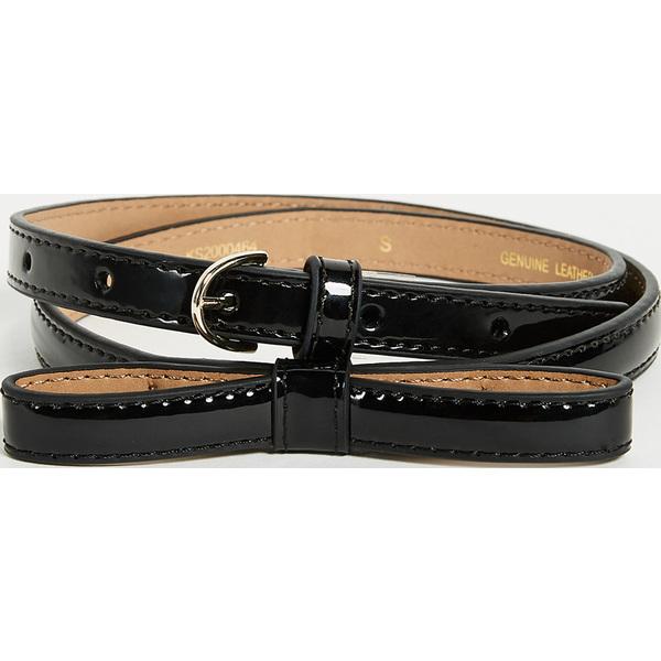 (取寄)Kate Spade New York Patent Skinny Bow Belt ケイトスペード パテント スキニー ボウ ベルト Black