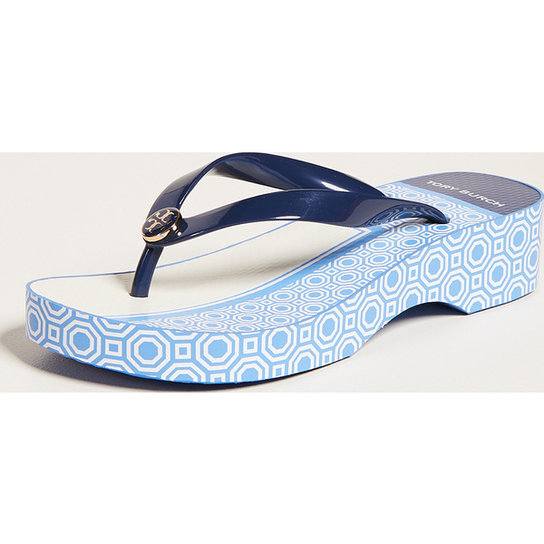 97af667e5063 (order) Tory Burch Cutout Wedge Flip Flops Tolly Birch cutout wedge flip- flops NavySunnyBlueOctagon