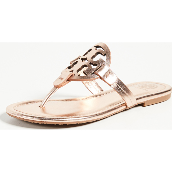 f6be45e9f327 (order) Tory Burch Women s Miller Thong Sandals Tolly Birch Lady s mirror tong  sandals RoseGold