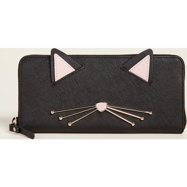 (取寄)Kate Spade New York Cat's Meow Lindsey Cat Wallet ケイトスペード キャッツ ニャー リンジー キャット ウォレット BlackMulti