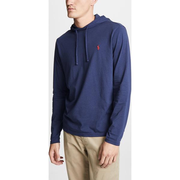 (取寄)ポロ ラルフローレン ロング スリーブ フーデット ティー シャツ Polo Ralph Lauren Long Sleeve Hooded Tee Shirt Navy