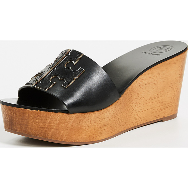 d3f623018 (order) Tolly Birch Lady s Ines 80mm wedge slide Tory Burch Women s Ines  80mm Wedge Slides PerfectBlack Silver