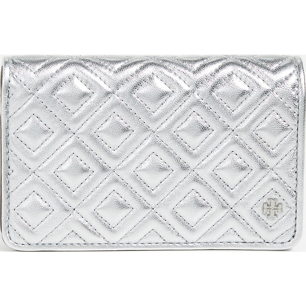 (取寄)トリーバーチ フレミング メタリック スリム ミディアム ウォレット Tory Burch Fleming Metallic Slim Medium Wallet Silver