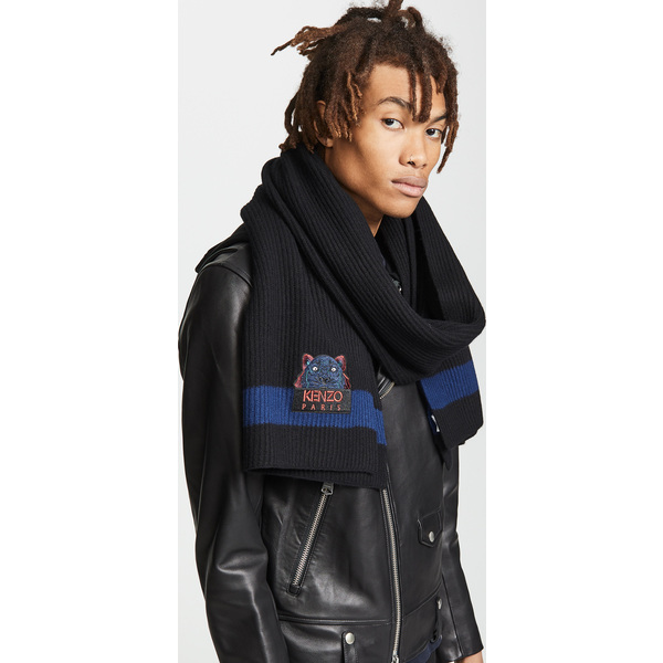 (取寄)ケンゾー ウール タイガー スカーフ KENZO Wool Tiger Scarf Black Navy