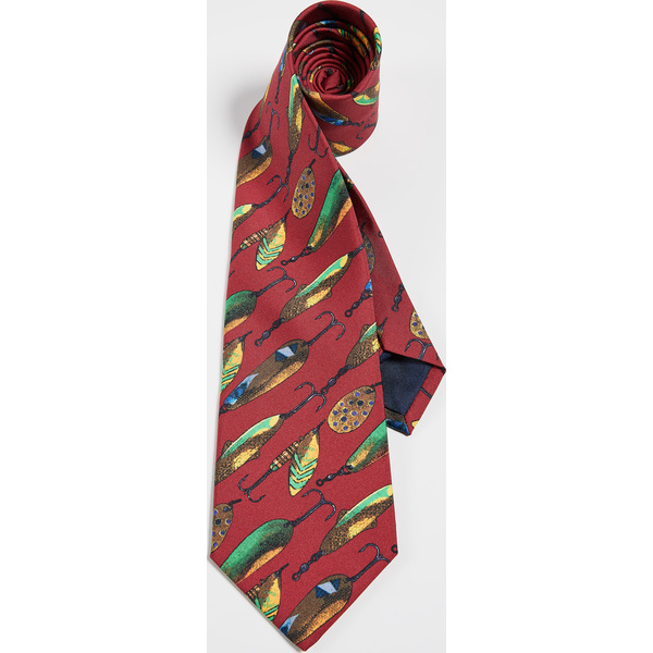 (取寄)ポロ ラルフローレン フィッシュ フライ プリント タイ Polo Ralph Lauren Fish Fly Print Tie Red