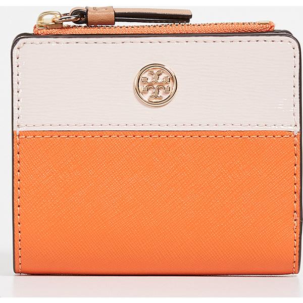 (取寄)トリーバーチ ロビンソン カラーブロック ミニ ウォレット Tory Burch Robinson Colorblock Mini Wallet OrangeJuice ShellPink