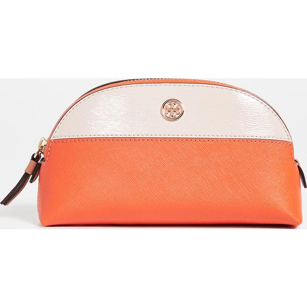 (取寄)トリーバーチ ロビンソン カラーブロック スモール メイクアップ バッグ Tory Burch Robinson Colorblock Small Makeup Bag OrangeJuice ShellPink