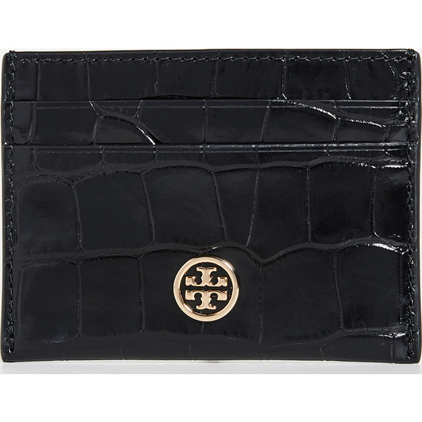 【エントリーでポイント5倍】(取寄)トリーバーチ ロビンソン エンボス カード ケース Tory Burch Robinson Embossed Card Case Black