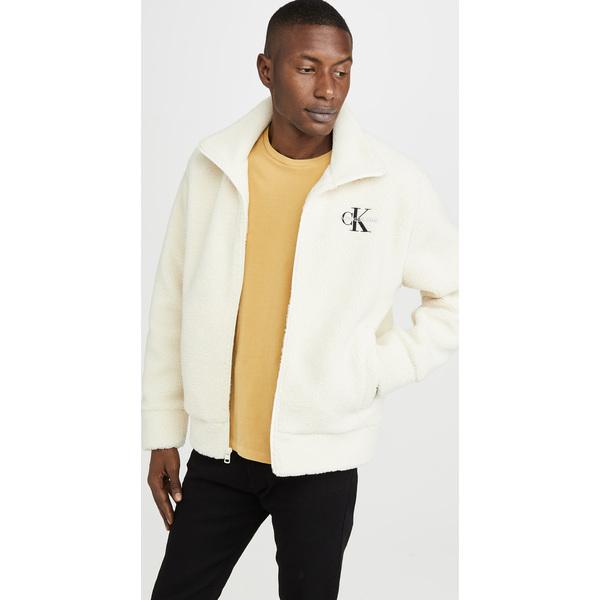 (取寄)カルバンクライン ジーンズ シェルパ クオーター ジップ ポップオーバー フーディ Calvin Klein Jeans Sherpa Quarter Zip Popover Hoodie WinterWhite