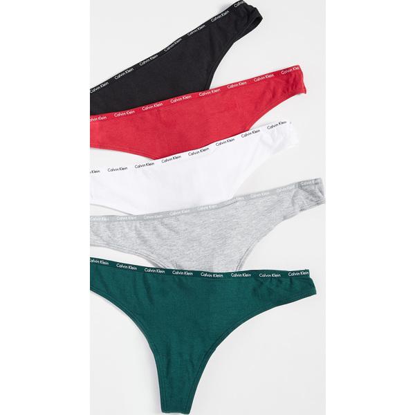 (取寄)カルバンクライン アンダーウェア レディース シグニチャー コットン トング 5 パック Calvin Klein Underwear Women's Signature Cotton Thong 5 Pack White Black Grey Temper Green