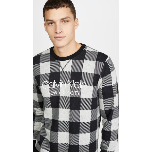 (取寄)カルバンクライン アンダーウェア モダン コットン バッファロー チェック スウェットシャツ Calvin Klein Underwear Modern Cotton Buffalo Check Sweatshirt BuffaloCheck GreyHeather