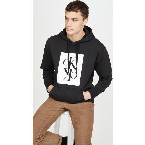 (取寄)カルバンクライン ジーンズ ミラー ポップオーバー ボクシー スウェットシャツ Calvin Klein Jeans Mirror Popover Boxy Sweatshirt Black