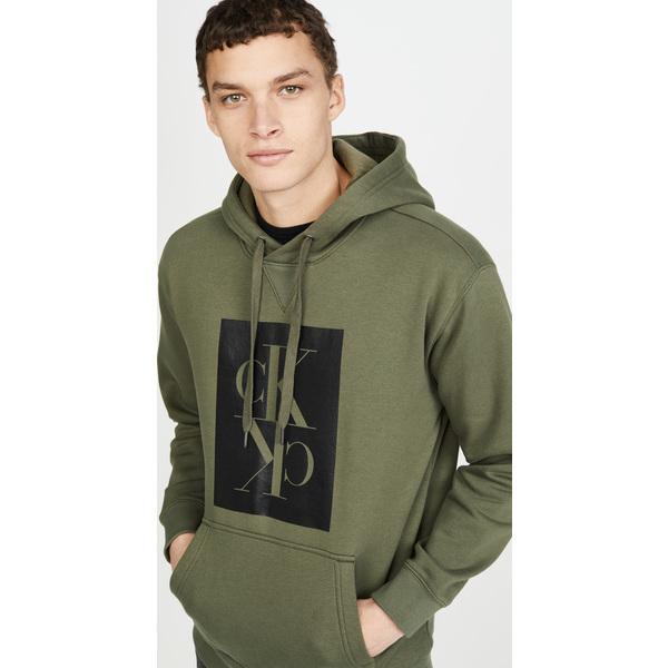 (取寄)カルバンクライン ジーンズ ミラー ポップオーバー ボクシー スウェットシャツ Calvin Klein Jeans Mirror Popover Boxy Sweatshirt GrapeLeaf