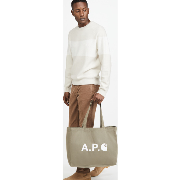 (取寄)アーペーセー アーペーセー x カーハート WIP ショッピング トート A.P.C. A.P.C. x Carhartt WIP Shopping Tote Khaki
