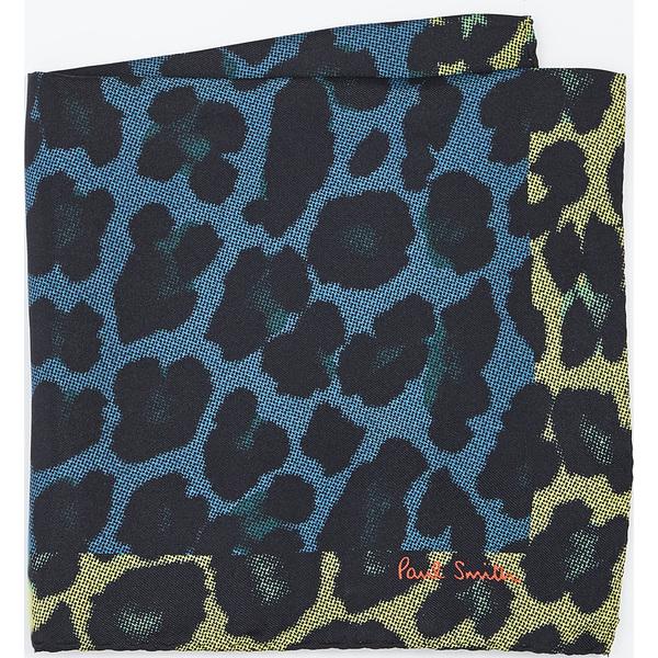 【クーポンで最大2000円OFF】(取寄)ポールスミス レオパード プリント ポケット スクエア Paul Smith Leopard Print Pocket Square BluePrint