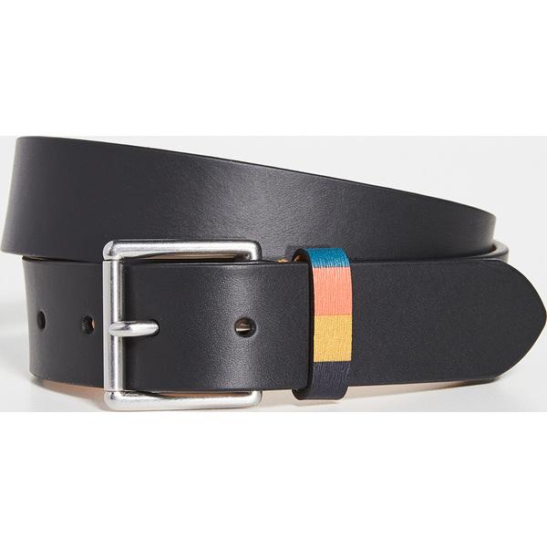 【エントリーでポイント5倍】(取寄)ポールスミス ブライト ストライプ キーパー ベルト Paul Smith Bright Stripe Keeper Belt Black