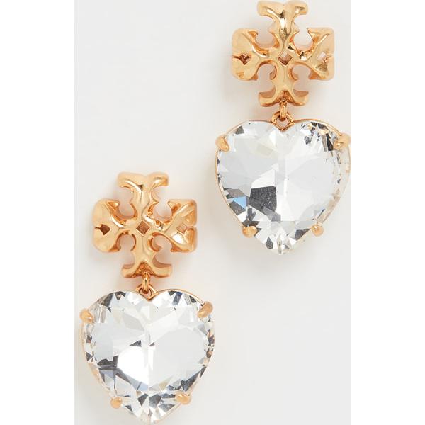 【クーポンで最大2000円OFF】(取寄)トリーバーチ カーブド キラ ハート ピアス Tory Burch Carved Kira Heart Earrings Crystal