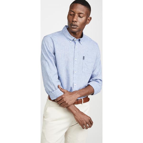 (取寄)バブアー リネン ミックス 1 テーラード シャツ Barbour Linen Mix 1 Tailored Shirt Blue