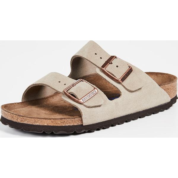 (取寄)ビルケンシュトック アリゾナ ソフト サンダル - ナロー Birkenstock Arizona Soft Sandals - Narrow Taupe