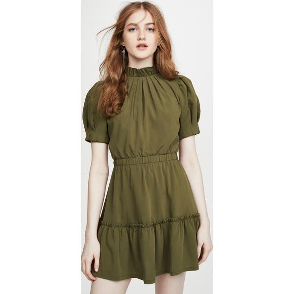 (取寄)アリス アンド オリビア レディース ヴィダ パフ スリーブ ラッフル ドレス alice + olivia Women's Vida Puff Sleeve Ruffle Dress Olive