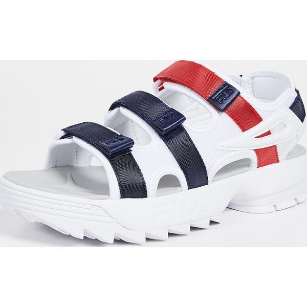 (取寄)フィラ ディスラプター サンダル FILA Disruptor Sandals White Navy Red