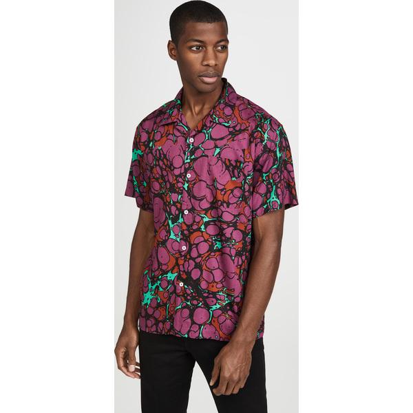 (取寄)オベイ ショット スリーブ ボッチド シャツ Obey Short Sleeve Botched Shirt DarkCoralMulti
