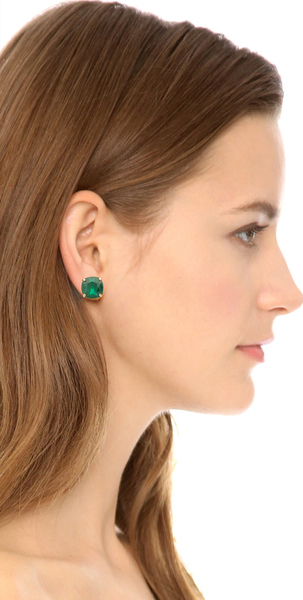 Order Kate Spade New York Small Square Stud Earrings Studs Pierced Emerald